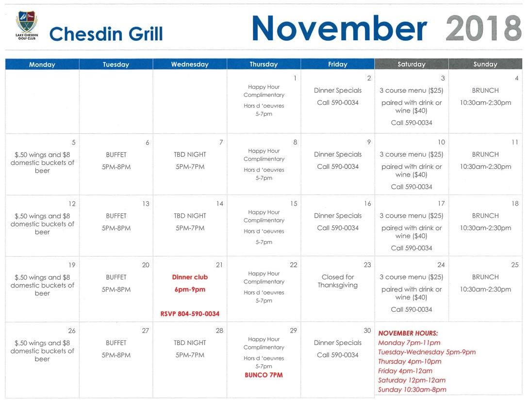 Chesdin Grill November Calendar